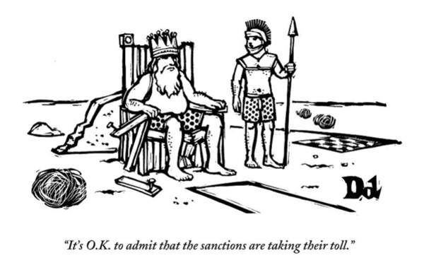 King Drawing - A King Sits Outside In His Boxers On A Wooden by Drew Dernavich