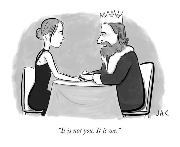Breakup Drawing - A King Speaks To A Woman by Jason Adam Katzenstein