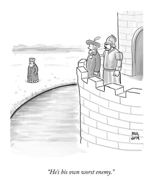 Castle Drawing - A King's Counsel Says To A Soldier As They Watch by Paul Noth