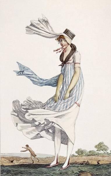 Fashion Drawing - A Ladies Summer Promenade Dress, 1800 by Philibert Louis Debucourt