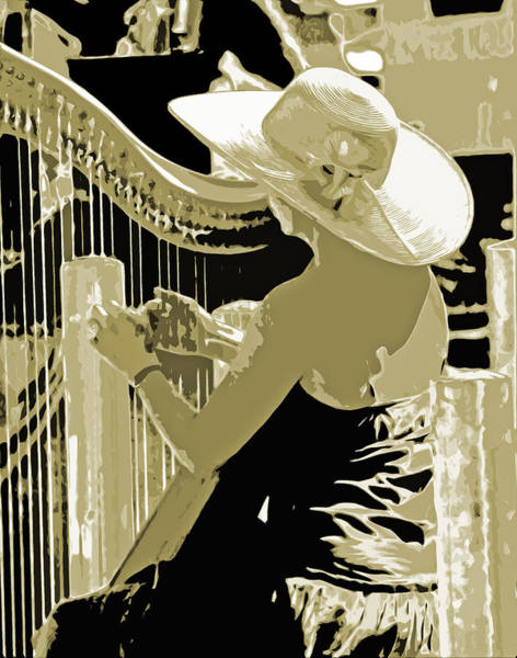 Harp Digital Art - A Lady And A Harp by Joseph Coulombe
