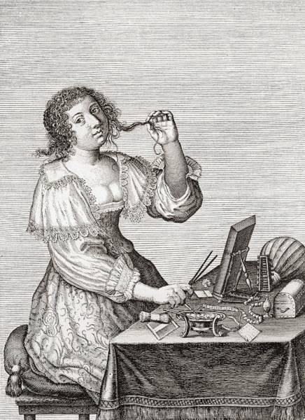 Toilet Photograph - A Lady At Her Toilette, After A 17th Century Engraving By Le Blond.  From Illustrierte by Bridgeman Images