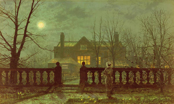 Haunted Wall Art - Painting - A Lady In A Garden By Moonlight by John Atkinson Grimshaw