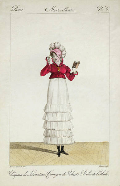 Old Style Drawing - A Lady In A Levantine Hat by Antoine Charles Horace Vernet