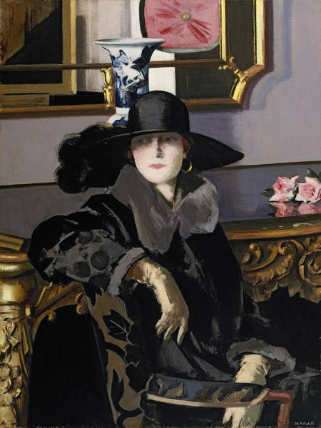Pensive Painting - A Lady In Black by Francis Campbell Boileau Cadell