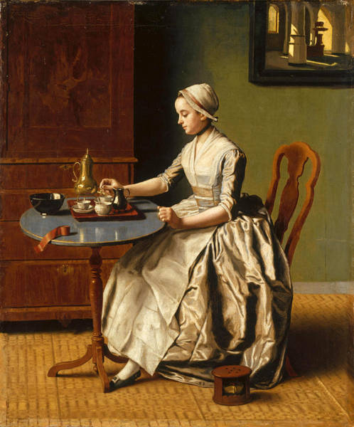 Jean Etienne Liotard Wall Art - Painting - A Lady Pouring Chocolate by Jean-Etienne Liotard