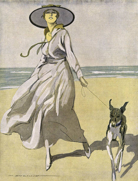 Wall Art - Drawing - A Lady Walks With Her Lurcher by Mary Evans Picture Library
