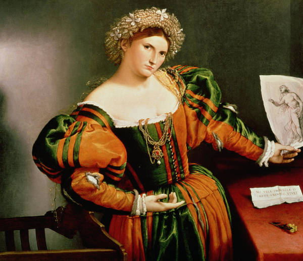 Virtue Photograph - A Lady With A Drawing Of Lucretia, C.1530-33 Oil On Canvas Transferred From Wood by Lorenzo Lotto