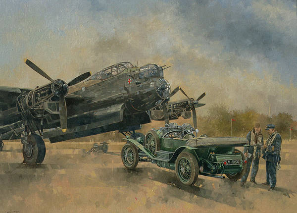 Vintage Airplane Photograph - A Lancaster And A Bentley, 2000 Oil On Canvas by Peter Miller