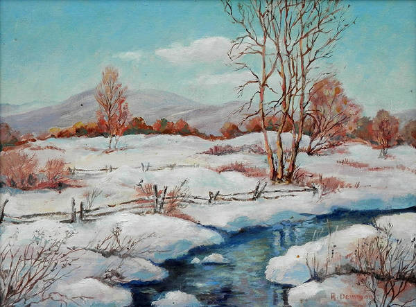 Laguna Beach Painting - A Landscape Of Naugbinway In Winter by Ralph Demmon