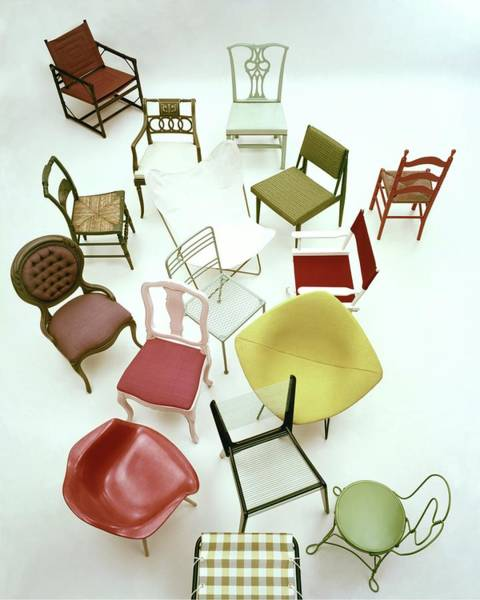 Furniture Photograph - A Large Group Of Chairs by Herbert Matter