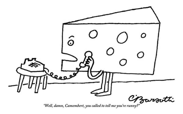 Cheese Drawing - A Large Piece Of Swiss Cheese Talks by Charles Barsotti