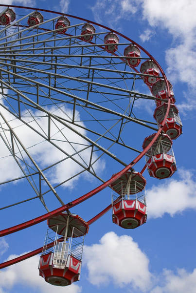Fair Ground Photograph - A Large Red Ferris Wheel Newcastle Upon by Christine Giles