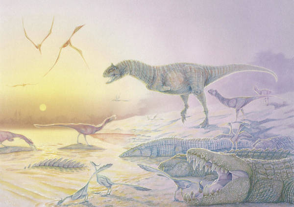 Abelisauridae Wall Art - Painting - A Late Cretaceous Dinosaur Scene by Alice Turner