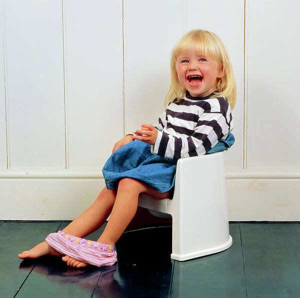 Toilet Photograph - A Laughing Young Girl Using A Potty by Ron Sutherland/science Photo Library