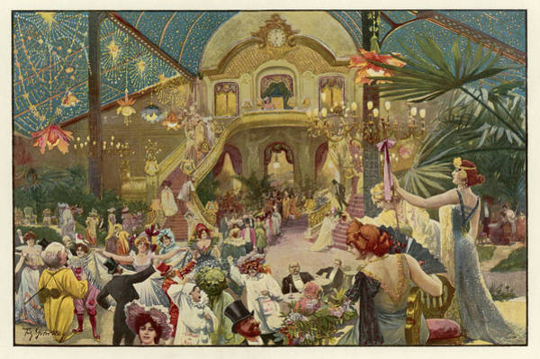 Wall Art - Drawing - A Lavish Carnival In Nice, In The South by Mary Evans Picture Library