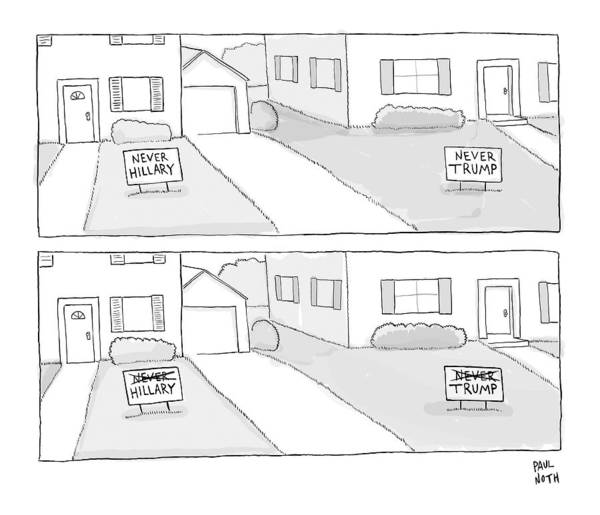 2016 Election Drawing - A Lawn With A Never Hillary Sign And A Lawn by Paul Noth