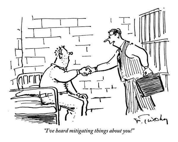 Briefcase Drawing - A Lawyer With A Briefcase Shakes The Hand by Mike Twohy
