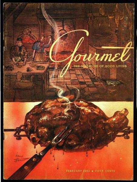 Fork Photograph - A Leg Of Lamb On A Spit Beneath An Etching by Henry Stahlhut