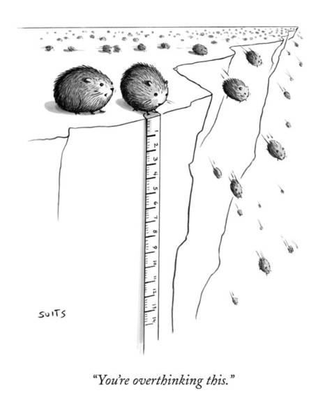 Animals Drawing - A Lemming Measures The Drop Off Of A Cliff by Julia Suits