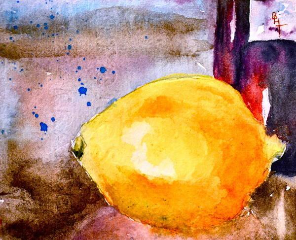 Spanish Wine Painting - A Lemon by Beverley Harper Tinsley