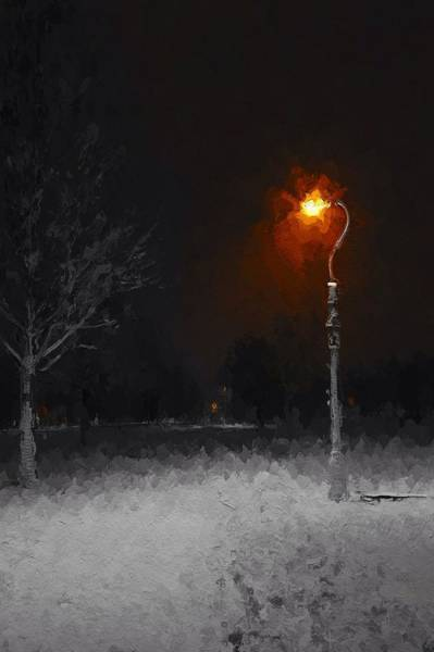 Winter Walk Painting - A Light In A Cold Winters Night by Steve K