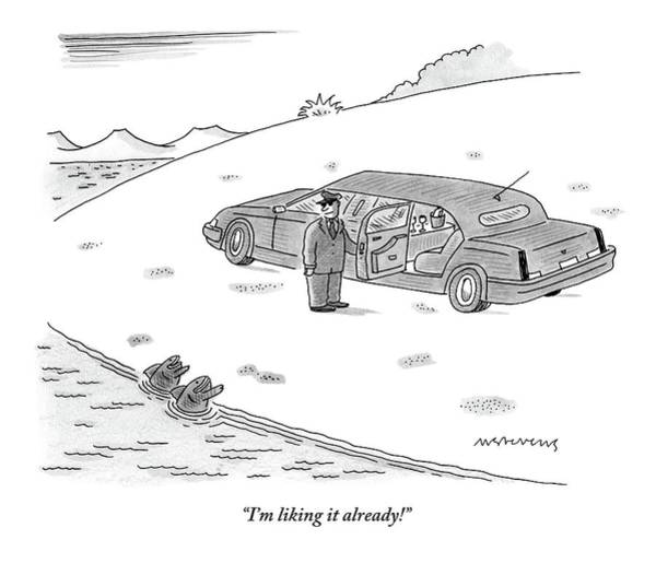 Shore Drawing - A Limo Driver Opens The Back Door For Two Fish by Mick Stevens