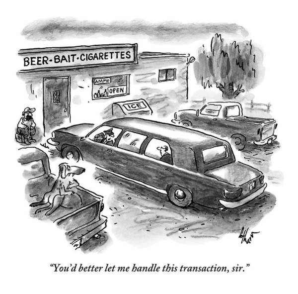 Beer Drawing - A Limo Is Parked At A Rundown by Frank Cotham