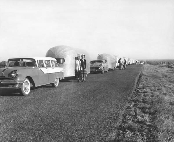 Motorhome Wall Art - Photograph - A Line Of Airstream Trailers by Underwood Archives