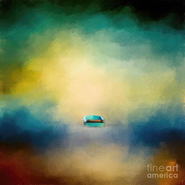 Photograph - A Little Blue Boat - Square Format by Jai Johnson