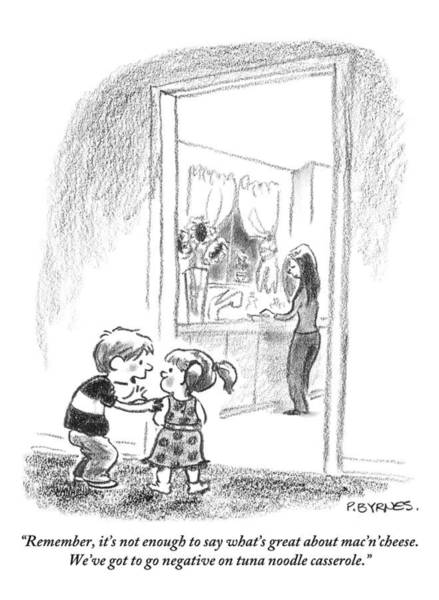 Little Drawing - A Little Boy Speaks To A Little Girl by Pat Byrnes