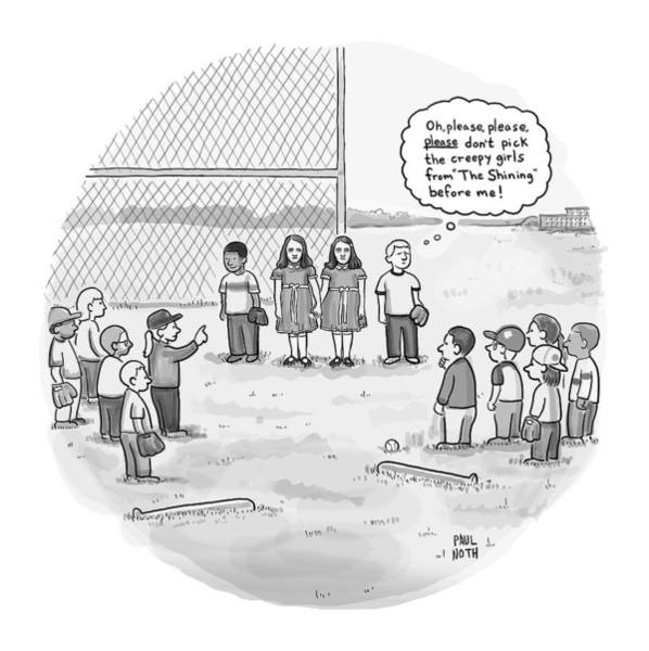 February 16th Drawing - A Little Boy Waiting To Be Picked For A Baseball by Paul Noth