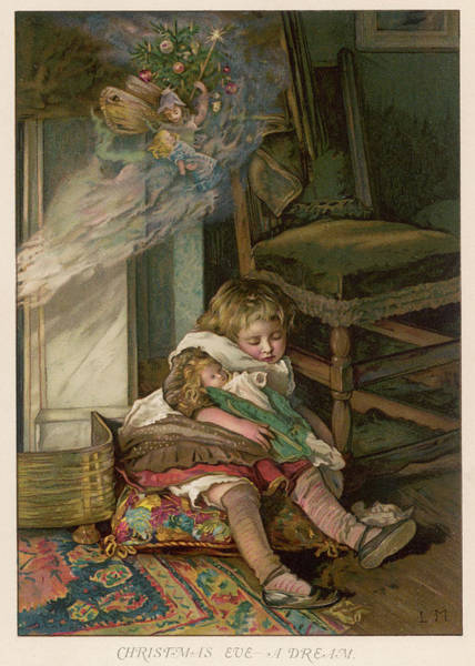 Folklore Drawing - A Little Girl Sleeps With Her  Doll by Mary Evans Picture Library