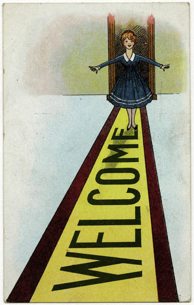 Mat Drawing - A Little Girl Stands On A Very  Long by Mary Evans Picture Library