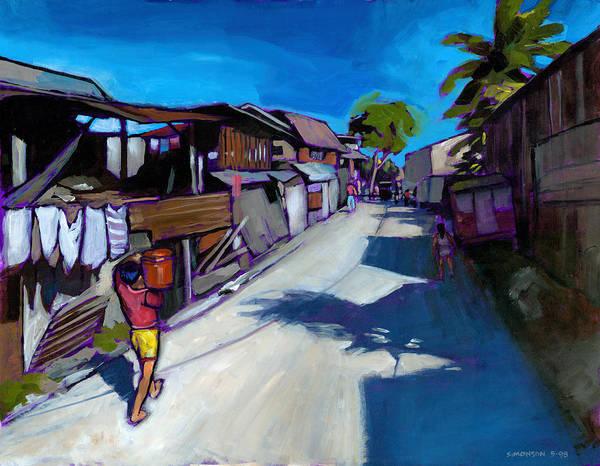 Back Painting - A Little Street In Cebu by Douglas Simonson