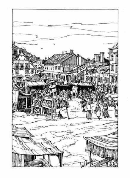 Galicia Drawing - A Little Town And Marketplace In Old Galicia by Ira Shander