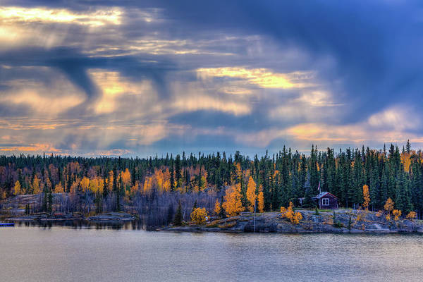 Yellowknife Wall Art - Photograph - A Log Cabin By The Lake by Wan Ru Chen