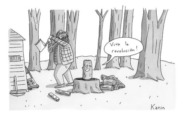 Lumberjacks Drawing - A Log With A Face Is About To Be Split In Half by Zachary Kanin