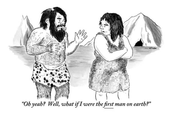 Cave Drawing - A Loincloth-wearing Caveman Speaks To An by Emily Flake