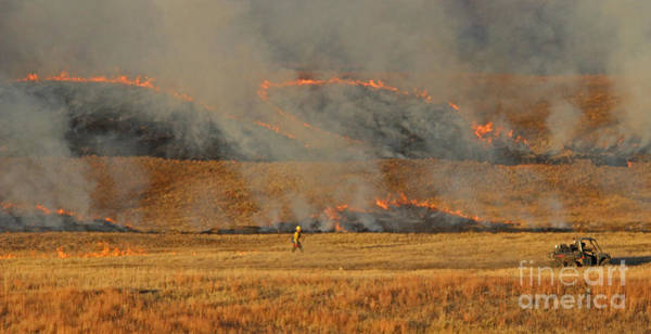 A Lone Firefighter On The Norbeck Prescribed Fire. Art Print