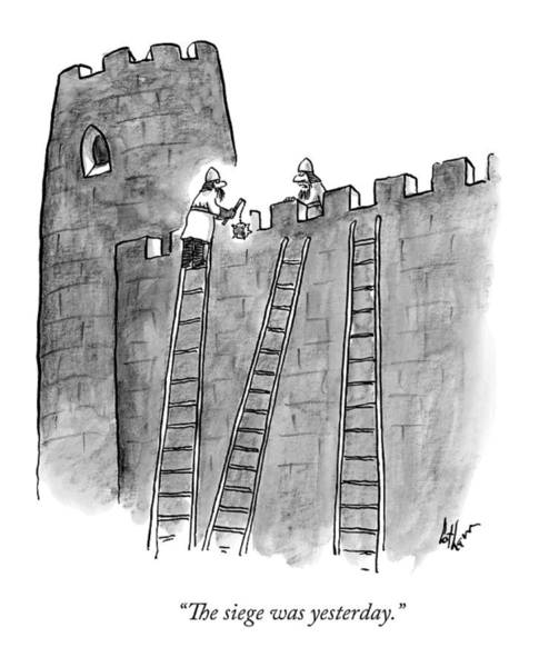 Deadline Wall Art - Drawing - A Lone Medieval Soldier Climbs The Ladder by Frank Cotham