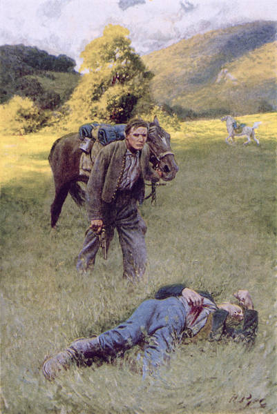 Wounded Soldier Painting - A Lonely Duel In The Middle Of A Great Sunny Field, Illustration From Rowand By William Gilmore by Howard Pyle
