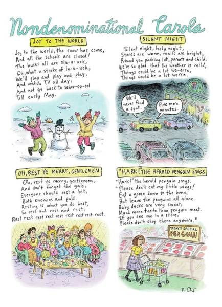 Season Drawing - A Long Description Of Various Non-denominational by Roz Chast