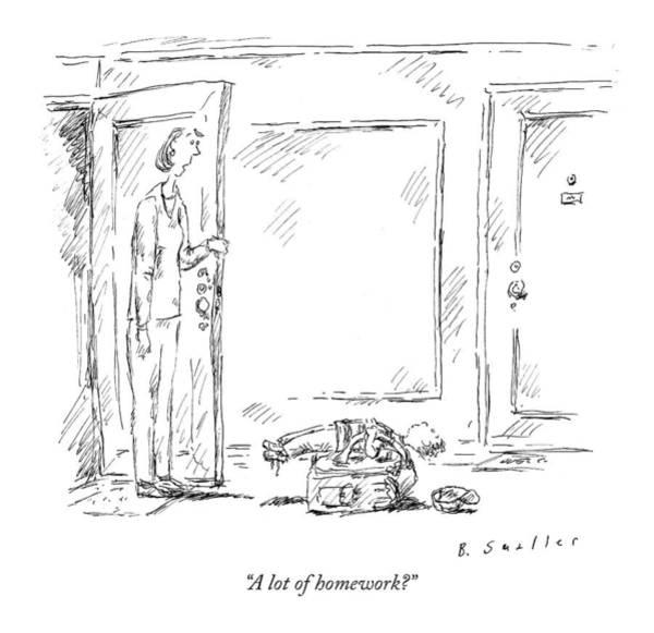 Homework Drawing - A Lot Of Homework? by Barbara Smaller