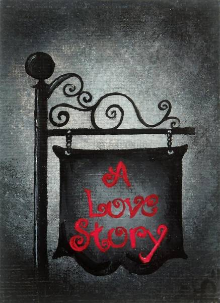 Atc Painting - A Love Story No 10 by Oddball Art Co by Lizzy Love