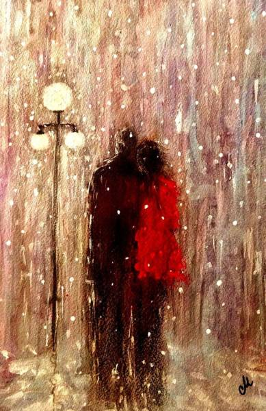 Snowdrop Painting - Me You And A Magical Winter Night.. by Cristina Mihailescu