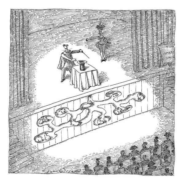 Trick Drawing - A Magician Is Seen On Stage by John O'Brien