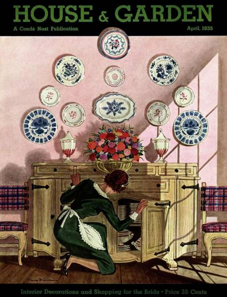Plate Photograph - A Maid Getting China From A French Provincial by Pierre Brissaud
