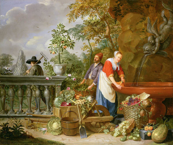 Water-melon Wall Art - Painting - A Maid Washing Carrots At A Fountain by Nicolaas or Nicolaes Muys