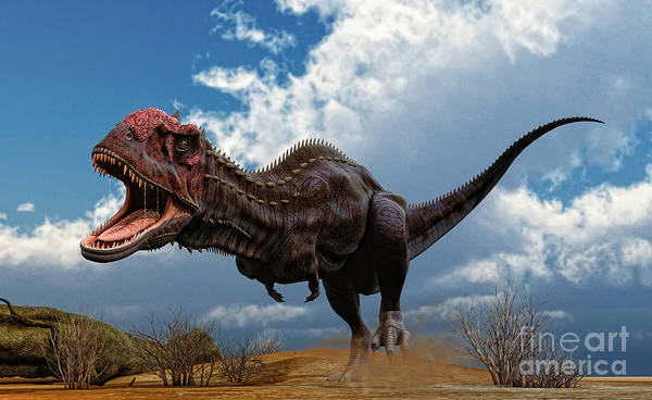 Abelisauridae Wall Art - Digital Art - A Majungasaurus Breaks Into A Run by Philip Brownlow